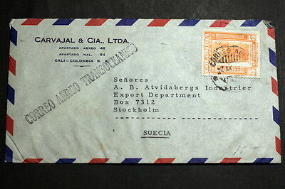 Colombia 1951 cover to Sweden M-009