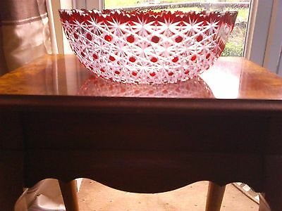 Cranberry / Ruby Crystal Large Bowl