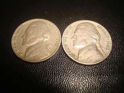 2 Wwii Era 1940 & 1941 Us.usa,america Nickel 5 Five Cents Coins