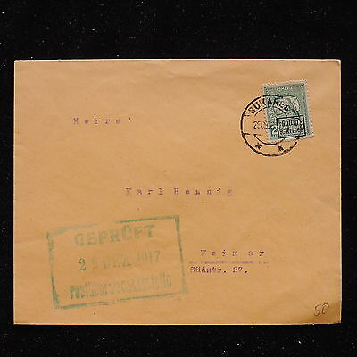 WS-G093 ROMANIA - Censored, Bukarest To Weimar 29.12.1917 Cover
