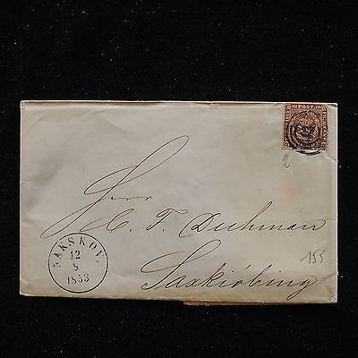 WS-G124 DENMARK - Cover, 1853 Nakskov 4Rs Brown, N.2