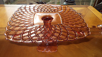 "Vintage Pink Depression Glass Cake Stand 11.25"" x 6"" Heavy thick stem L E Smith"