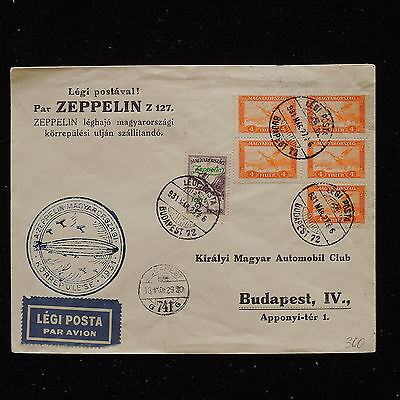 WS-G150 HUNGARY - Zeppelin, 1931 Rundfahrt Budapest Ty.1 Si.102Aa LZ127 Cover