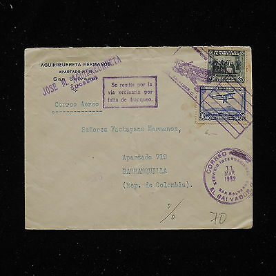 WS-G206 EL SALVADOR - Airmail , 1932 To Colombia, Insufficiently Franked Cover