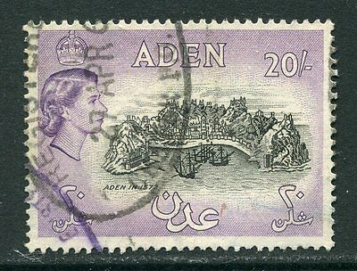 Aden: 1953 QE2 20/- stamp SG72 Used AE030