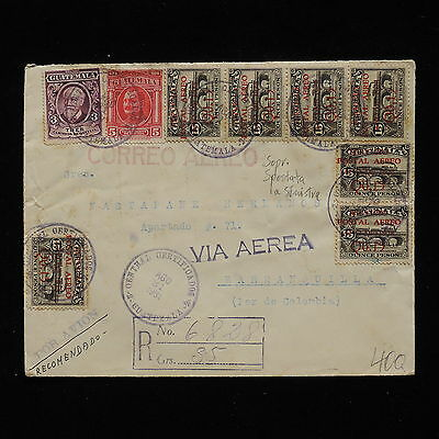 WS-G313 GUATEMALA - Airmail , Error, Q0.15 Shifted Surch. 1931 To Colombia Cover