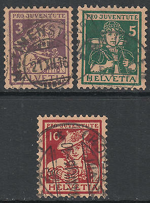WS-G487 SWITZERLAND - Pro Juventute, 1916 Costumes 3V. Mi.130/2 Used