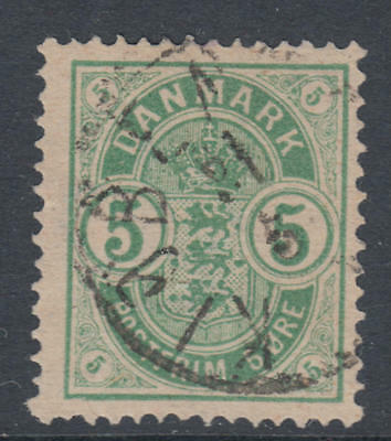WS-G572 DENMARK - Coat Of Arms, 1882 Small Corner Numerals, 5O Green Sc.35 Used