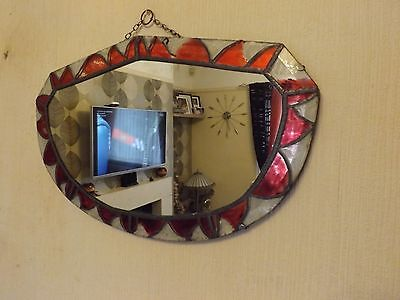 Vintage Mirror With Lead Strip Detail Around Edges - Shabby Chic