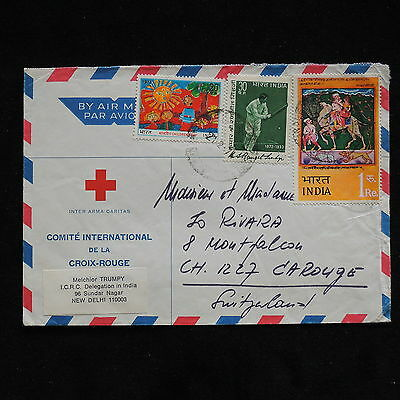 WS-G733 INDIA IND - Red Cross, 1974 Delhi To Switzerland Cover