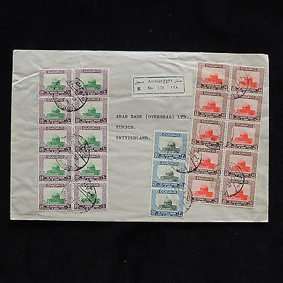 WS-G736 JORDAN - Cover, Large Registered, With Block Of 10 To Switzerland 1968
