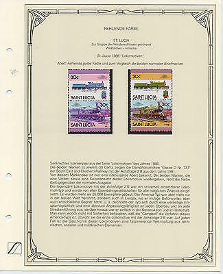 WS-G988 TRAINS - St Lucia Ind, Error Variety, 1986 Missing Color, Rarity 30C MNH