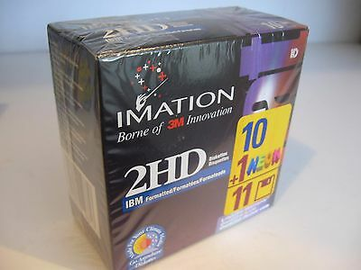 New Sealed 10-Pack 3M Imation 2HD/DS Floppy Diskettes IBM-Formatted