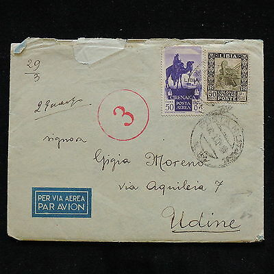 WS-H050 ITALY - Libya, Colony, Airmail Censored 1942 To Udine Cover