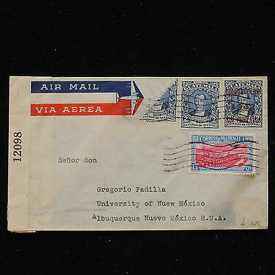 WS-H165 GUATEMALA - Airmail, Censored 1942, Bisect, Construccion To Mexico Cover