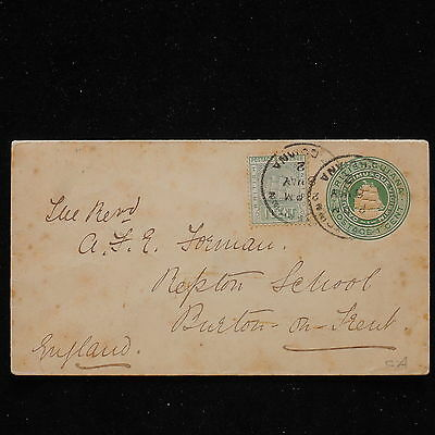 WS-H170 BRITISH GUIANA - Stationery, Uprated 1902 1+1Cent To Burton/Trent Cover