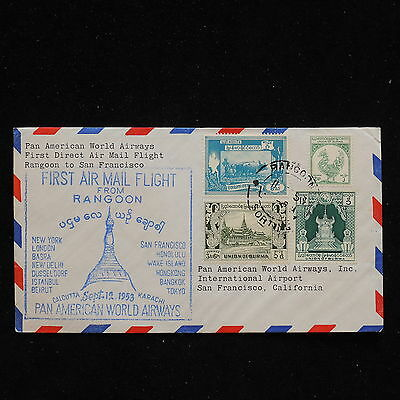 WS-H172 BURMA IND - Pan-Am, First Flight Ffc, 1953 To San Francisco, Usa Cover