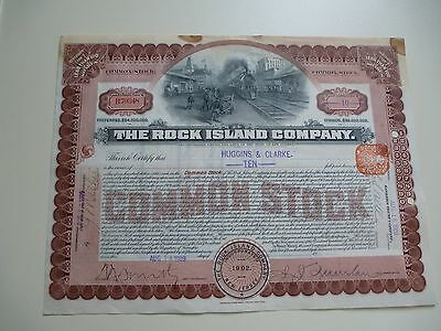 THE ROCK ISLAND COMPANY COMMON STOCK CERTIFICATE FOR 10 shares - 14/08/1909
