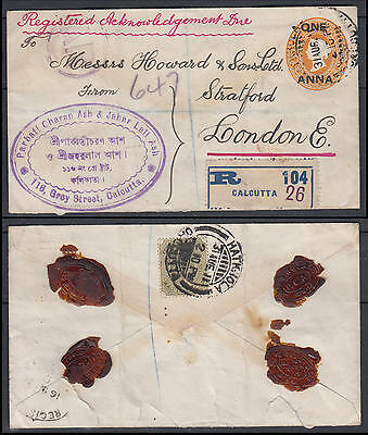 WS-H207 INDIA GBC - Stationery, Qv/Kevii Calcutta Reg 1A To London England Cover
