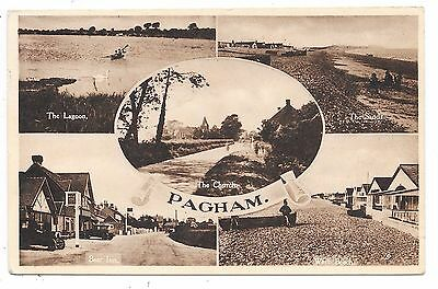 Nice Printed Multi-View Postcard Of Pagham Sussex Posted 1948