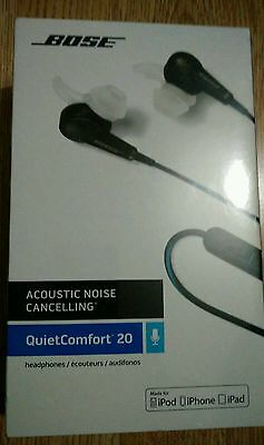 Bose QC20 QuietComfort Noise Cancelling Headphones for Apple Black - NEW SEALED