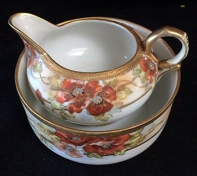 NORITAKE STUNNING SUGAR & CREAMER Rare Unusual Design Excellent