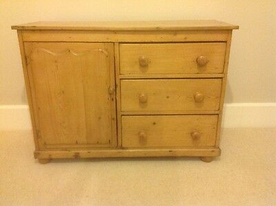 Vintage (?Victorian) Old Pine Cupboard With Three Drawers