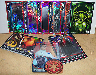 48 Dif Star Wars Rogue One Topps Trading Cards New Mint Darth Vader inc sticker