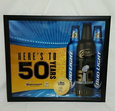 Bud Light Heres to 50 years NFL Super Bowl 50 Mirror Man Cave Bar Sign