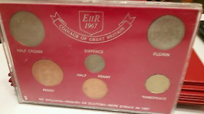 Coinage of Great Britain 1967, no shilling as none struck that year. Display box