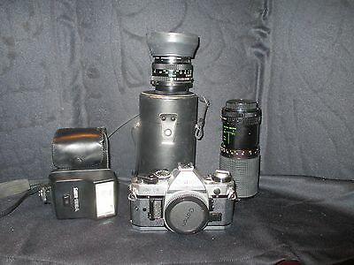 Canon AE-1 35mm Camera With Extra lenses & Flash