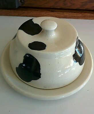 """CowHide Design  Butter Dish   Signed Handmade Pottery """"Patton"""""""