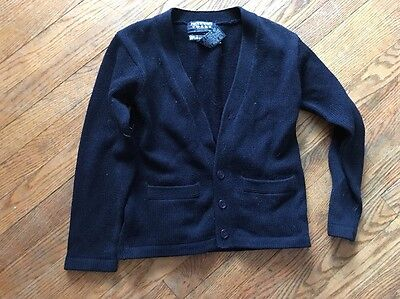 Boy's Girl's Navy French Toast School Uniform Sweater 10 12 Buttons Pockets