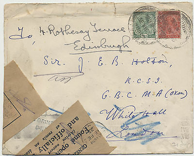 Letter from India to London 1935 Officially Sealed