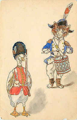 Hand Drawn Postcard Yankee Cat Drummer Boy and Redcoat Duck Homemade Watercolor