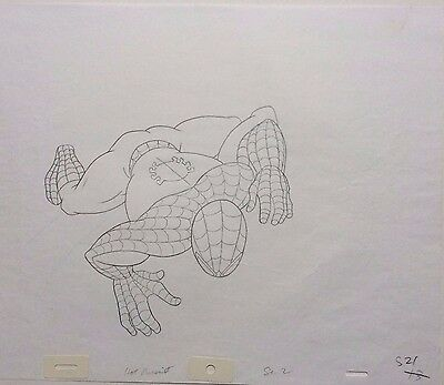 Spider Man original animation art production drawing c.1990