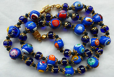 Vintage Hand Knotted  Cabalt Blue Millefiori Glass Bead Necklace