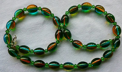 Vintage Style Green & Yellow Bi-colour Glass Bead Necklace