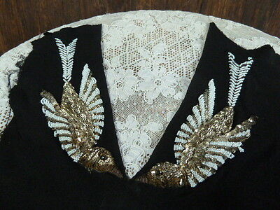 Stunning 1920's Art Deco Period Gold Sequin and Glass Bead Dress Applique