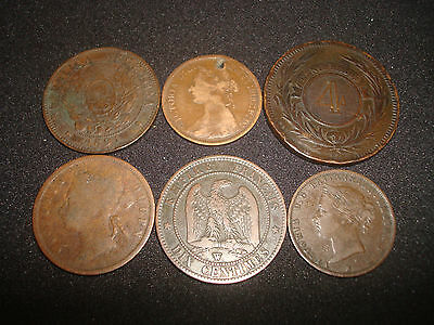 LOT OF OLD COPPER COINS FROM 1800`s -ARGENTINA,URAGUAY,FRANCE,BRITISH,ETC
