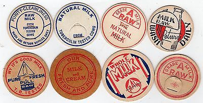 Lot of 8 Generic raw/natural milk bottle caps. two oversized. 1 used.