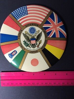 """Huge Antique WWI """"The Great Powers"""" Alliance Button Circa 1918 Great Condition"""