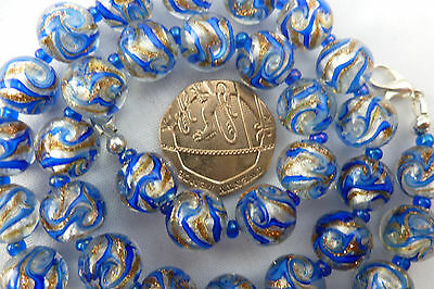 Vintage Style Blue & Gold Adventurine Silver Foil Lampwork Glass Bead Necklace