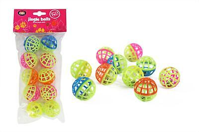 Plastic Cat Kitten Play Balls With Jingle Bell Assorted Colours 4Cm 10 Balls