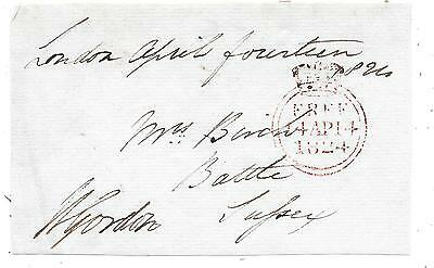 1824 Free Front London To Battle Signed William Gordon M.p For Aberdeenshire