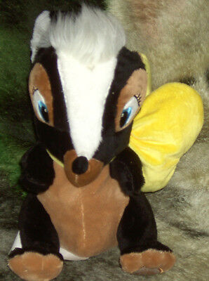 10 Inch Plush Super Soft Disney Store Flower The Skunk With Large Yellow Bow