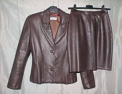 Completo  Donna  Tailleur  Giacca  Gonna  Pelle  Marrone  Cantone