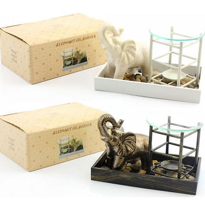 Elephant Ornament Tray Oil Burner Warmer Fragrance Gift Set Melt Wax Home Aroma