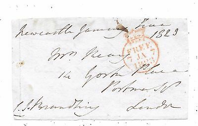 1823 Free Front Newcastle To London Signed C.j.brandling M.p For Northumberland