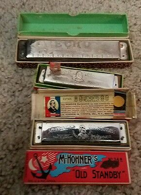 "Vintage Harmonica Lot of 3. Hohner Germany  ""The Echo"" G Key + two old stand by"